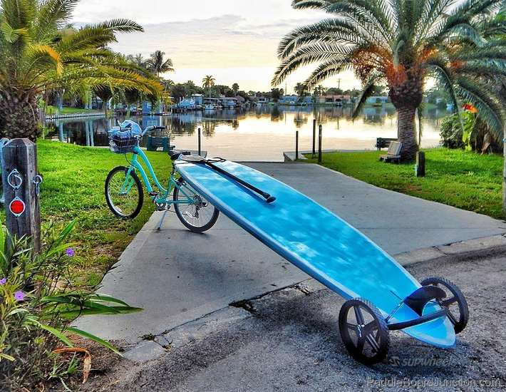 SUP Wheels - transporting your paddle board by hand or bicylcle